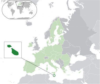 Malta on a map