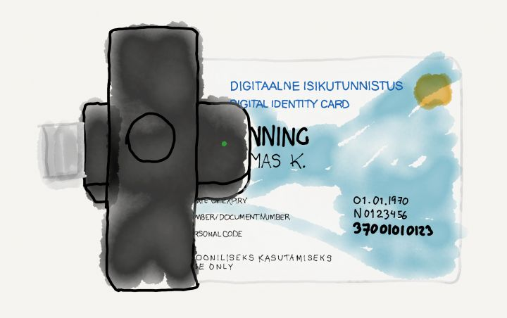 Drawing of the Estonian e-residency card inserted in the included card reader