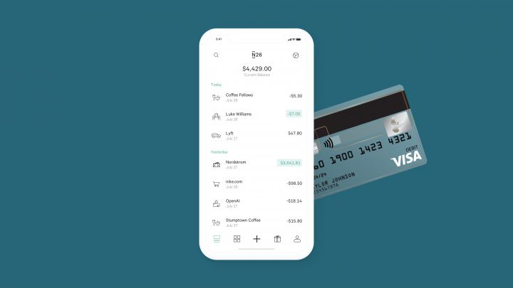 Overview over all your N26 transactions in the app, together with the american N26 Visa card