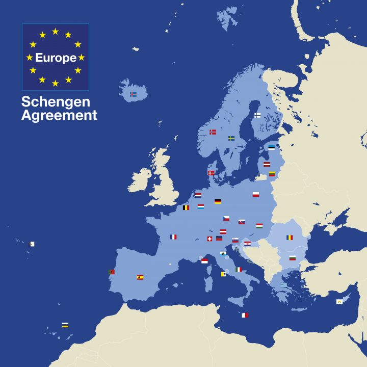 Map over the Schengen area where Portuguese Golden Visa holders may travel visa-free