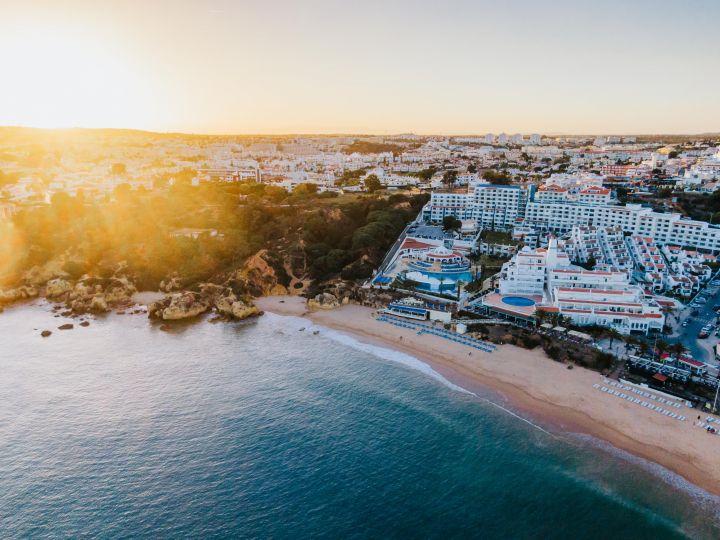 Sunset over the beach in Algarve