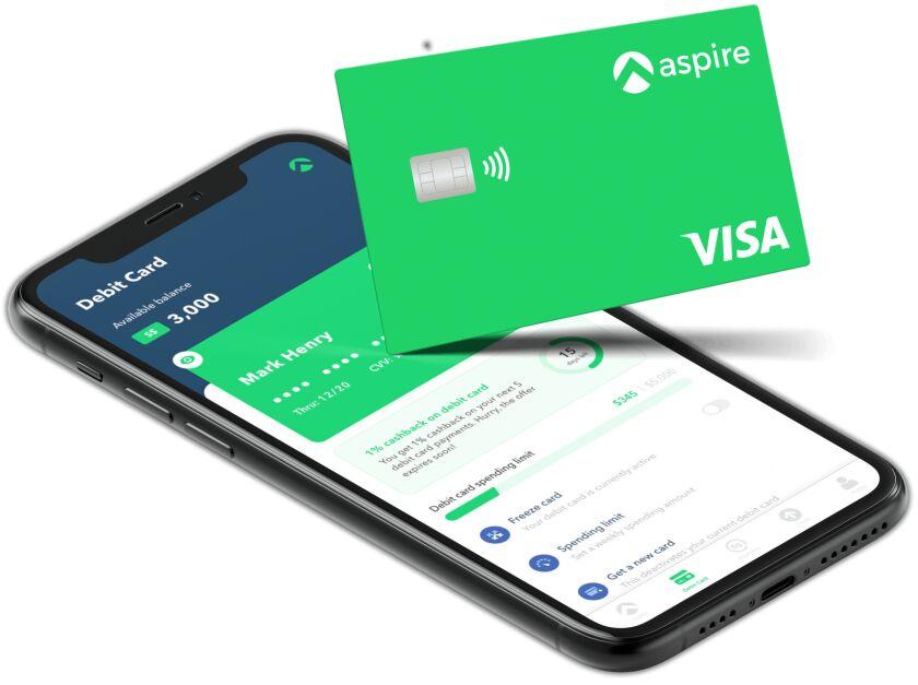 Aspire  web interface and Visa debit card