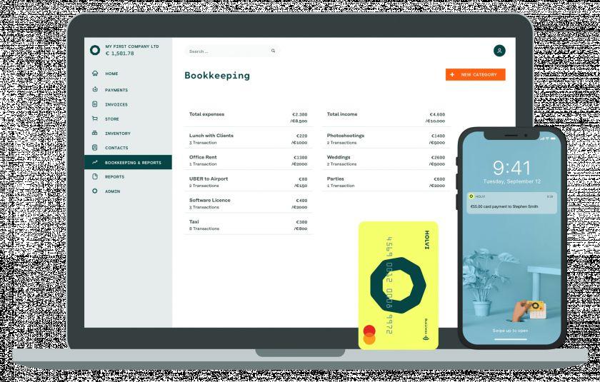 Holvi web interface, app, and card