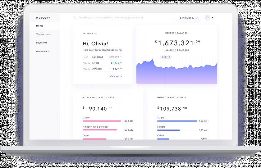 Mercury online banking interface