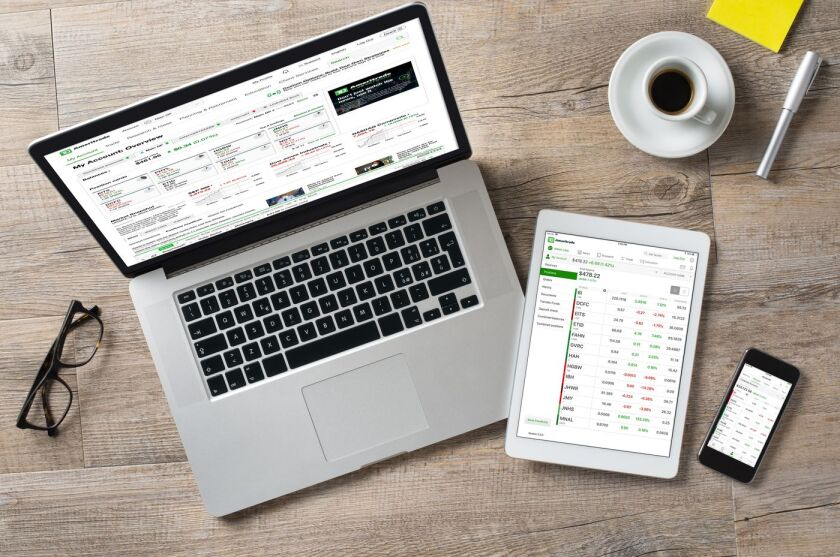 TD Ameritrade trading application on a laptop, phone, and tablet