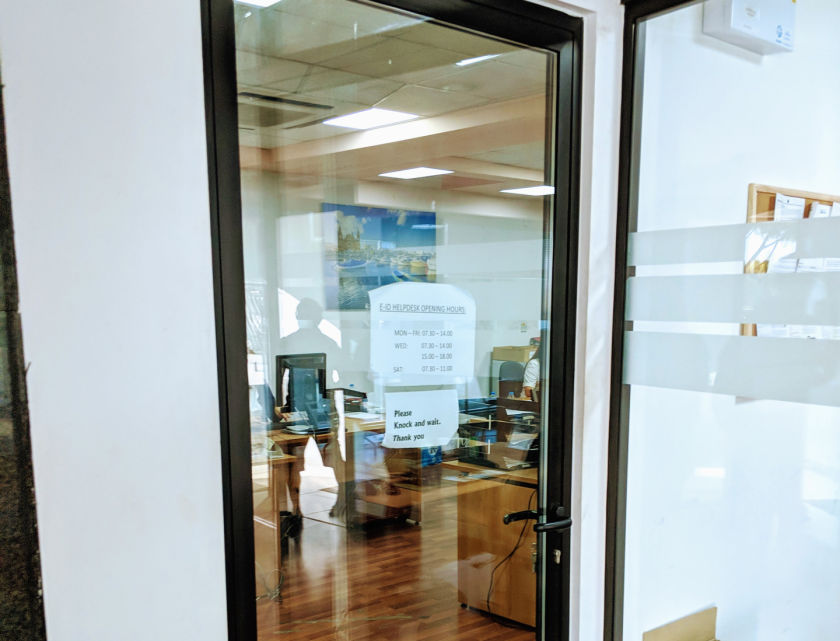 E-ID Helpdesk door at Identity Malta in Blata l-Bajda where you can activate your Maltese eID